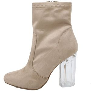 Shoes - Clay Faux Suede Clear Block Heel Bootie